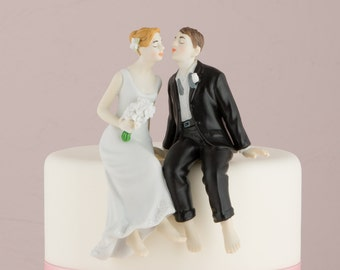 Customized Whimsical Sitting Wedding Bride Groom Couple Cake Topper Personalized Hair Color Romantic Gift Traditional Bare Feet Kissing