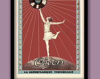 French Art Deco Poster . Odeon Records advertising poster. Art Deco wall art. 1930s poster. A2 size. Art Deco women poster. Vintage music.