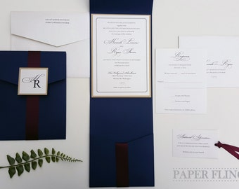 Elegant Wedding Invitation - Pocket Wedding Invitation - Navy Wedding Invitation - Burgundy Wedding Invitation - Style W-11 - SAMPLE