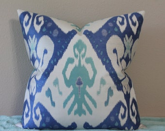 "NEW Ikat Print - 18"", 20"", 22"" or 24"" Square Decorative Designer Pillow Cover - Turquoise, Light Lapis Blue, Light Grey and Off White"