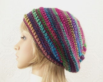 Crochet slouch hat - multi colored hat - ready to ship - women's winter accessories - handmade beret - gift for her - Sandy Coastal Designs