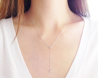 Sterling Silver Lariat Necklace, Crystal Drop Necklace, CZ Necklace, Delicate Necklace, Dainty Necklace, Long Necklace, Simple Y Necklace