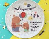 Mr Bear Personalised Baby Birth Plate