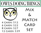 Owl Card Set, Mix and Match, Owl Illustrations, Cute Notecards, Snail Mail, Owls Doing Things Stationary, Owl Lovers Gift