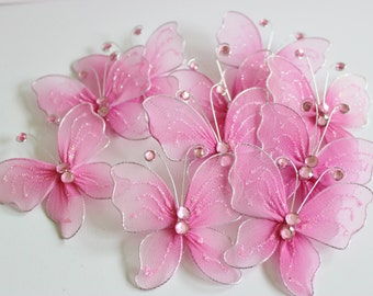 "Pink Nylon Butterflies 2"" 10+ Pieces Wedding / Shower / Flower Arrangements / Table Scatter"