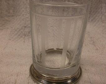 Vintage Art Deco shot glass - sterling silver and etched glass