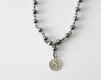 rosary necklace, vintage silver pearl necklace with angel pendant