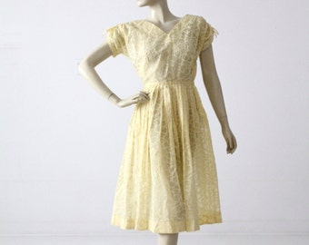 vintage 50s yellow dress, new look yellow semi-sheer floral dress