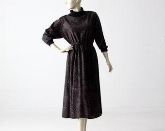 1970s animal print dress, felted full skirt dress with turtleneck