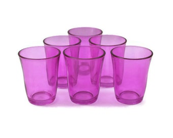 Hot Pink Vintage Glassware / SET of 6  / Glass Tumblers / Party Glasses / Festive Glassware / c1980s