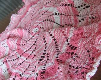 Vintage Handmade Bubblegum Pink and White Pinwheel Crochet Cottage Chic Doilie - Home Decor - Granny Chic - Doily