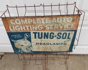 Vintage Metal Tung-sol Advertising Light Display.