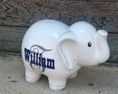 White Large Ceramic Elephant (Piggy) Bank - Personalized Piggy Bank
