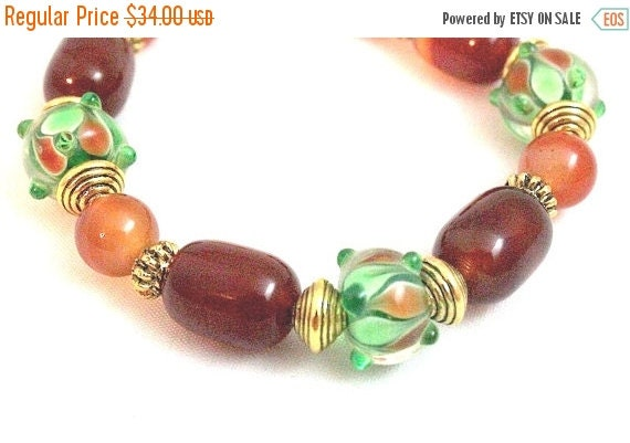 ON SALE Lampwork and Red Agate Bracelet