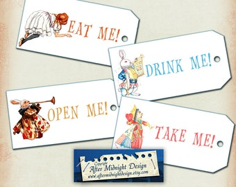 Alice Watercolour Tags No 7, Alice in Wonderland Tags, labels, perfect for parties, presents and invitations.
