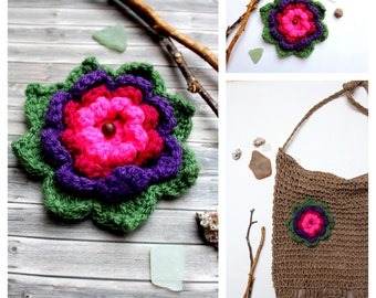 Crochet flower 4 colours to decorate your tote bag