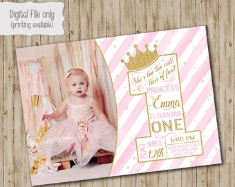 One Princess Birthday Invitation / Gold Glitter Birthday Invitation / 1st  Girl's Birthday Invitation / Pink, White, Gold, watercolor