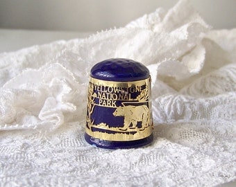 Vintage Thimble Yellowstone National Park Cobalt Blue 24k Gold Finish Thimble Sewing Room Thimble Collector 80s Vintage