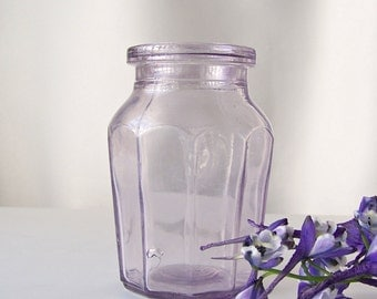 Antique Heinz Condiment Jar Purple Glass Jar Purple Glass Collector Shabby Cottage Decor ca 1900