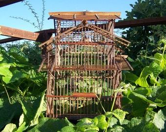 Vintage Bird Cage Bamboo Pagoda Style Vintage Decor Match Stick Beach House Shabby Cottage 1950s