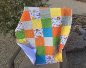Modern Quilt, Minky Back, Patchwork, Crib Quilt,Lap Quilt ,Baby Girl Bedding,Ready To Ship,White,Minky,Flowers,Turquoise,Yellow,Owls,Green