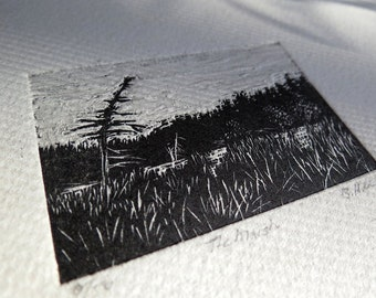 Wood engraving - small landscape study