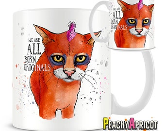 We are all born originals mug - Inspirational - coffee mug - Bookish gifts - Edward Young - Quote - Cat - Book Worm - Motivational - Mugs