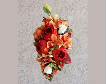 Rose Orchid Fall Cascading Wedding Bouquet Made to Order