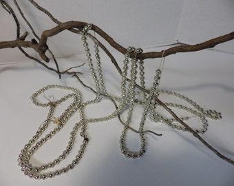 Vintage silver mercury glass garland- two strands- 18+ feet!