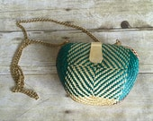 Colorful Retro Straw Bag - Small Purse - Clam Shell Bag