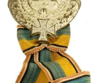 Antique Prussia 1887 Brunswick Landwehr Association Membership Badge Ribbon