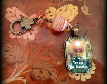Bible Verse Picture Pendant Necklace or Keychain Clip Zipper Pull