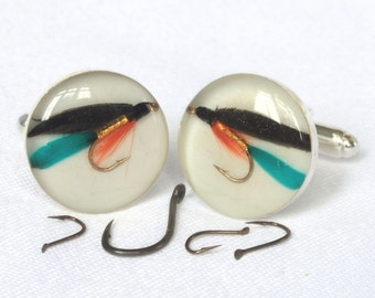 Fly Fishing Cufflinks, Fishing Fly Cufflinks, Cufflinks, Fishing gift, Fishing lure, Gifts for Men, Gifts for Fishermen, Fish cufflinks, Fly