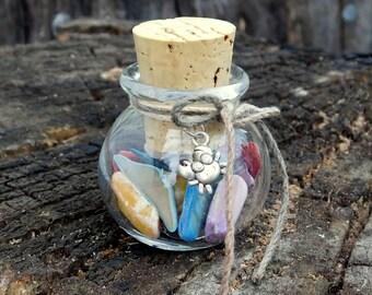 Glass Beach Jar, Colored Shells, Crab Charm, Ready To Ship