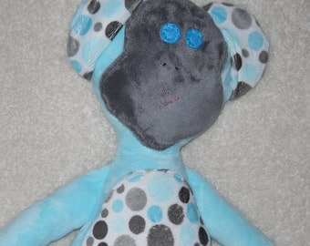 Blue with polka dot Accent Mindle the Monkey