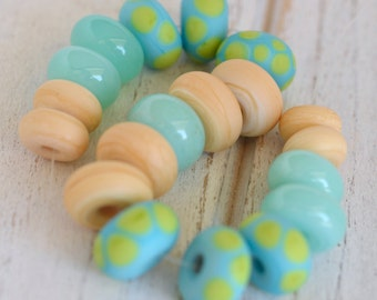 lamp work beads... SRA handmade, matte finish, lampwork beads, pastel beads, multicolor beads set of (19) for making jewelry 73016-3
