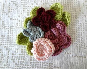 Romantic crocheted brooch #3- crocheted flowers, crochet flower brooch, flower pin, crochet bouquet, flower art, broach