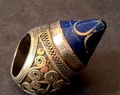 20% WINTER SALE Large Vintage LAPIS Lazuli Tibetan Embossed Silver Ceremonial Ring / Afghanistan Origin / Bold and Chunky Statement Jewelry