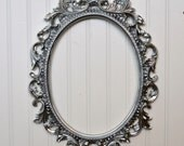 Oval Picture Frame Large Ornate Baroque Fancy Silver Portrait Wedding