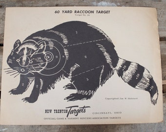 Vintage New Trenton shooting Paper c. 1940s collectible wall art No. 26 Raccoon Varmint Hunter