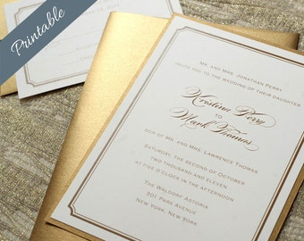 Simple Gold Wedding Invitation Printable Gold Wedding Invitations Simple Wedding Invitation