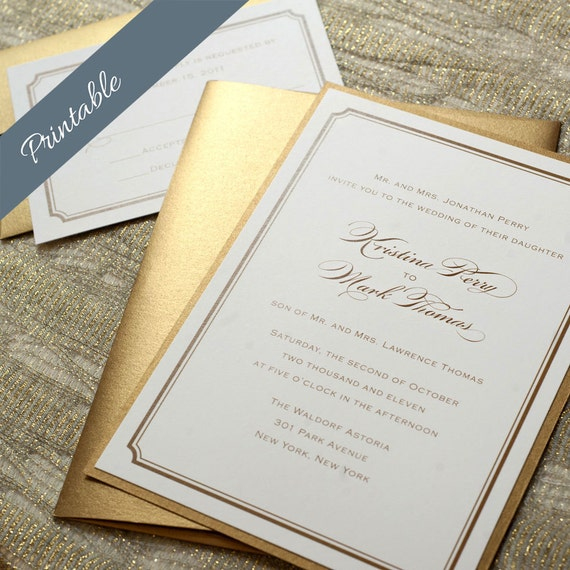 Simple Gold Wedding Invitation Printable Gold Wedding Invitations Simple Wedding Invitation