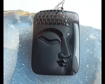 Carved Obsidian Buddha Head Gemstone Pendant Bead,49x36x9mm,32.2g
