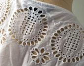 Eyelet Top, Eyelet Blouse, White Cotton Blouse, Cutout Top, Lace Top, Cotton Lace Top, Large Top
