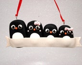 Family Ornament Family of 4 Christmas Ornament Penguin Family Ornaments Penguin Personalized Ornament Family Christmas Gift