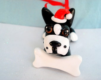 Boston Terrier Christmas Decoration Polymer Clay Dog Christmas Ornament Boston Terrier Dog with Santa Hat