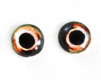 10mm Glass Eyes, Fish Eyes, Glass Fish Eyes, Eye Cabochons, Orange Eye, Art Doll Eyes, Jewelry Making, Small Eyes, Taxidermy Eyes, Animal