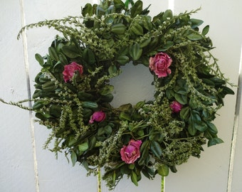 Boxwood Wreath   Dried Wreath  Floral Wreath  Rose Wreath  Hand Crafted Wreath  Birthday Gift  Natural Wreath