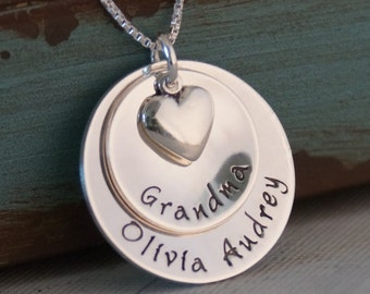 Hand Stamped Mommy Necklace - Sterling Silver Personalized Jewelry - Double Family Cup with heart