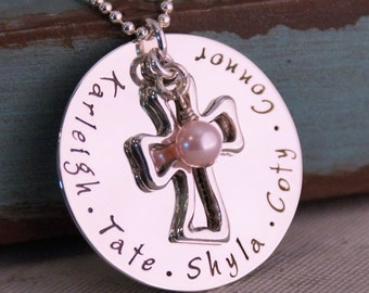 Grandma's Blessings - Hand Stamped Jewlery - Sterling Silver Hand Stamped Mommy Necklace